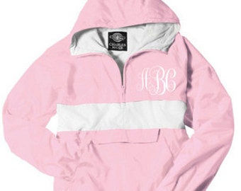 Monogrammed Personalized Pink and White Stripe Half Zip Rain Jacket Pullover, Personalized Jacket Pullover, Windbreaker, Rugby Style