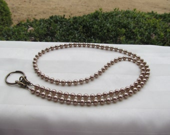 Bronze Beaded Lanyard Swarovski Pearl Bronze Bead Lanyard Necklace ID Badge Holder