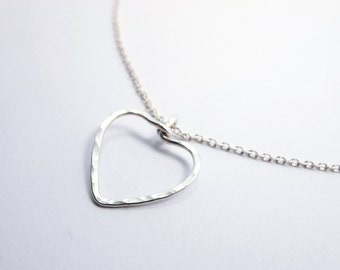Heart Necklace Chain Sterling Silver, Love, Mother gift, Anniversary, Wedding Bridesmaid Gift, Delicate Fine Jewelry Gift Idea