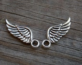 12 Silver Wing Charms Antiqued Silver 21mm Angel Wings
