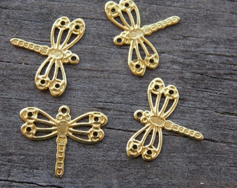10 Gold Dragonfly Charms Raw Brass 14mm