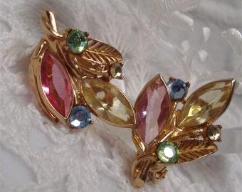 Clip Earrings Pastel Rhinestones Gold Tone Vintage