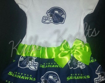 Seattle Seahawks inspired baby girl outfit