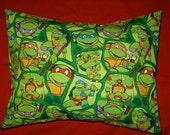 Teenage Mutant Ninja Turtle Print Travel Pillow Case or Throw Pillow - Envelope Back