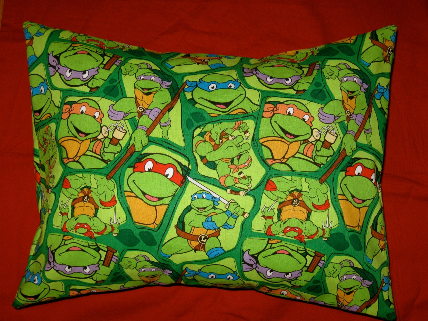 Ninja Turtle Decorative Pillow : Teenage Mutant Ninja Turtle Print Travel Pillow Case or Throw
