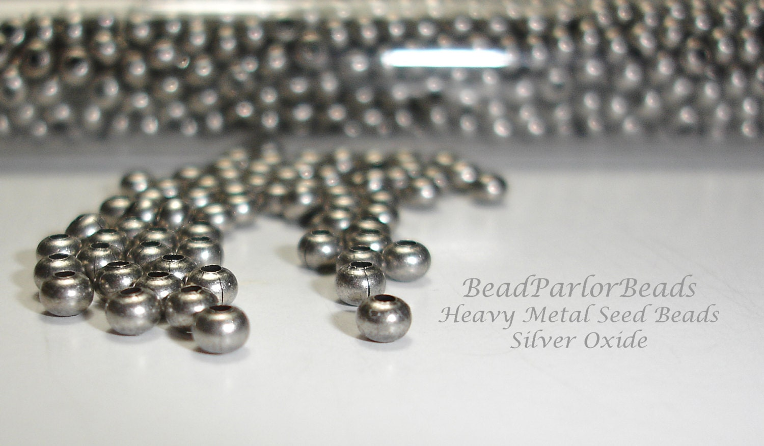 Silver oxide plated metal seed beads size 8 0 by beadparlorbeads