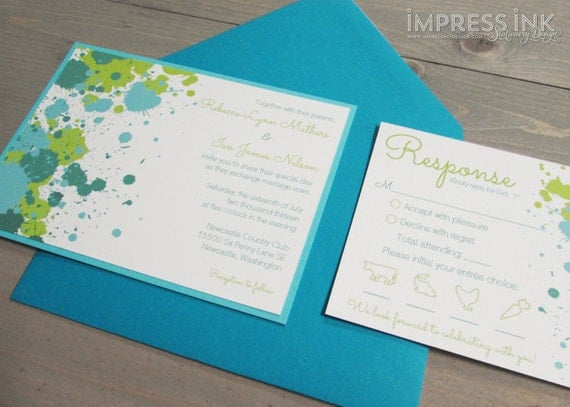 Paint Splatter Wedding Invitation Sample   Flat or Pocket Fold Style