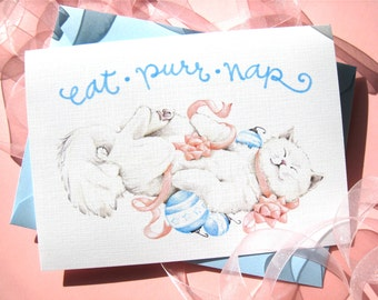 Kitty Cat Christmas Card - Cute Holiday Card - Eat Purr Nap
