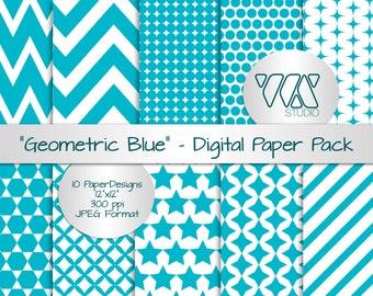 "Original Geometric Blue Patterns - Digital Paper Background Ideal for Scrapbooking - Blue, turquoise, aqua & white - 12""x12"""