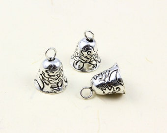 10Pcs Antique Silver bell Charm bell Pendant 9x9mm (PND753)