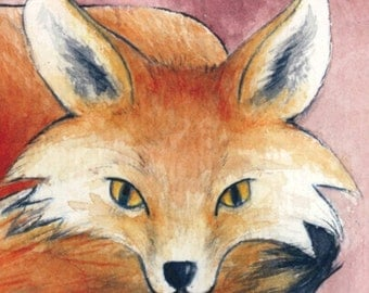ACEO Fox on Pink ORIGINAL Painting / Art Card