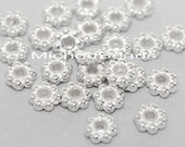 25 Bright SILVER Daisy Spacer Beads - 4.5mm Round Nickel Free Metal Daisy Bead Spacers - USA Discount Beads in Bulk - Instant Ship - 5748