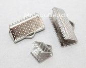 100 PLATINUM 13x6mm Ribbon Cord CRIMP End Clamps - 13mm Rectangle Textured Press Pinch End Crimps for Cord Leather - Instant Ship USA - 5784