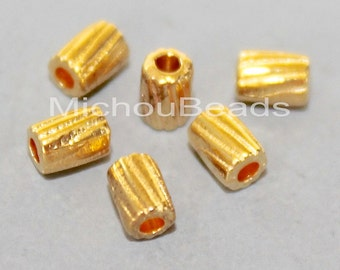 BULK 100 Bright GOLD 4mm Textured Beads - 4x3mm Metal Seed Tube Spacer Bead - Instant Ship - USA Wholesale Discount Beads in Bulk - 5907