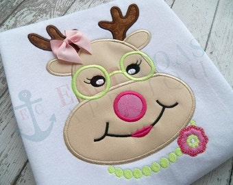 Super Cute Reindeer wearing Glasses - Appliqued and Personalized - Boy or Girl
