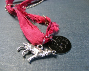 Bad Wolf Necklace:  Doctor Who Inspired with Wolf Charm Hand Stamped Stainless Chain and Rose Sari Silk