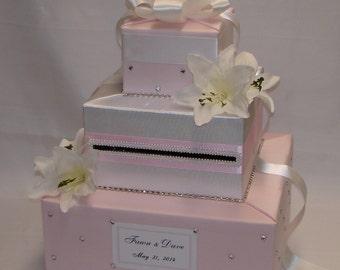 Elegant Romantic Design-Pale Pink/White Card Box-any colors