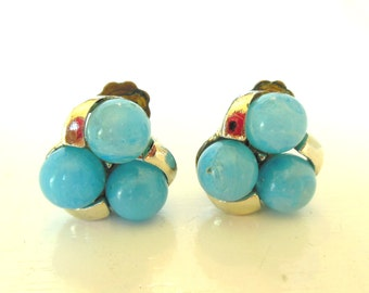 Vintage Clip Earrings Light Blue Silver Cluster 50's (item 204)