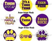 INSTANT DOWNLOAD Purple yellow Tigers 2 School Mascot 1 inch circle Bottlecap Images
