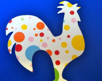 24 Rooster white with colored spots paper punch, die cuts, 2 inch w x 1 and 3 fourths tall Hand punched