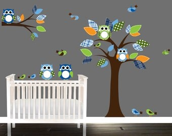 Nursery Decals, orange owl wall decal, Nursery Tree decals, Owls, playroom stickers