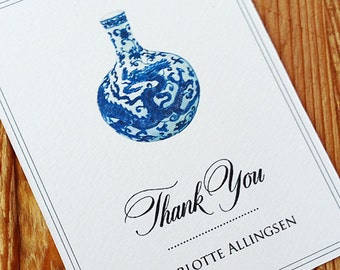 Thank you Mini Note with  Ming Vase Chinoiserie, set of 24
