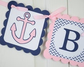 Anchor Name Banner, Girl Banner, Nautical Baby Shower, Anchor Party, Sailboat Chevron Banner, Light Pink and Navy Blue Banner