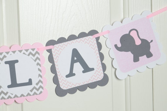 Elephant Name Banner Birthday Party Baby shower Banner