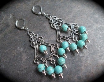 Turquoise chandelier earrings with blue green turquoise beads and lever back closures your choice  silver plated or sterling silver