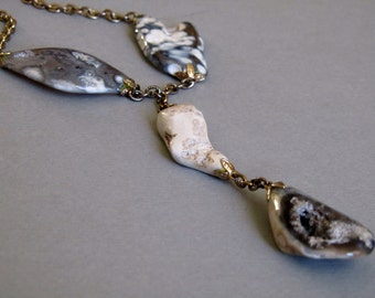 Geode Natural Stones Necklace, Vintage Polished Stone Jewelry