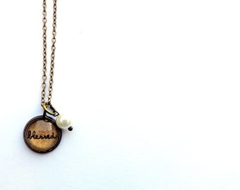 Blessed.  Tiny Vintage Style Charm Necklace.