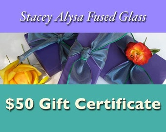 Gift Certificate for Fused Glass & Gemstone Jewelry - 50 dollars