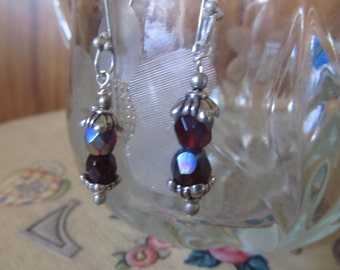 Purple AB Crystal and Silver Earrings
