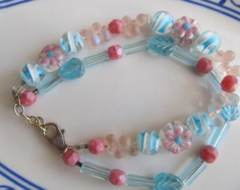 Pink and Blue Two Strand Beaded Bracelet