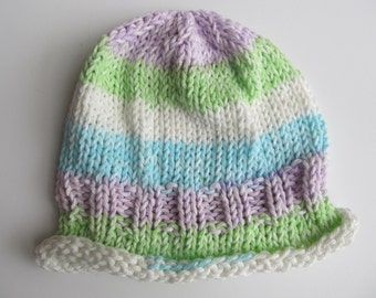 Handknit Cotton Baby Hat, Chemo Cap, One of a Kind, Ready to Ship!
