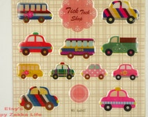 Cute Car - Taxi - Truck- Funny Sticker World  - Translucent 3D Deco Sticker - 1 Sheet