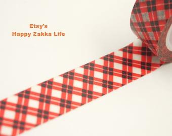 Red and Black Check  - Japanese Washi Masking Tape -  8 Yards