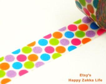 Bright Colorful Dots - Japanese Washi Masking Tape - 8.7 Yards