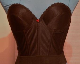 black boned corset bra strapless low back 34b