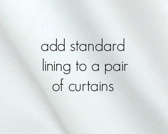 Standard White Lining to Add on Curtains. For a Pair of 2 Panels. White Window Drapery Lining.