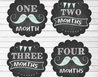 Monthly Baby Stickers Baby Boy Month Stickers Milestone Stickers Monthly Photo Stickers Bodysuit Stickers Mustache Banner(Chalkboard Boy)