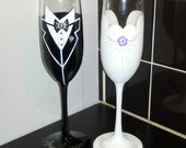 Bride and Groom Wedding hand painted champagne flutes