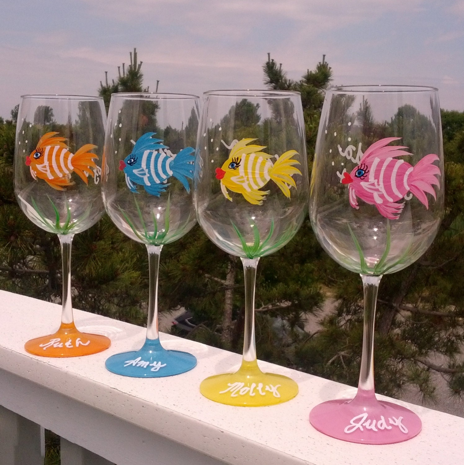 Girly fish hand painted wine glasses for Hand painted glassware