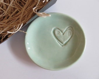 ring holder, ring dish,  engagement gift, wedding monogram initial tray,  Mint Green,  Gift Boxed, Made to Order
