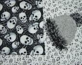 New Homemade Baby Quilt Black w white sm. Skulls on Front