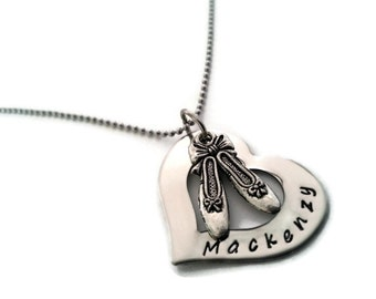 Personalized Ballet Necklace, personalized name necklace with Ballet shoes charm, custom ballet jewelry by Moonstone Creations