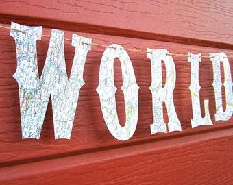 Travel Theme,Map Banner, The World Awaits, Map Theme, Custom Banner, Nursery Banner,  Vintage Maps, Travel, Wedding, Shower