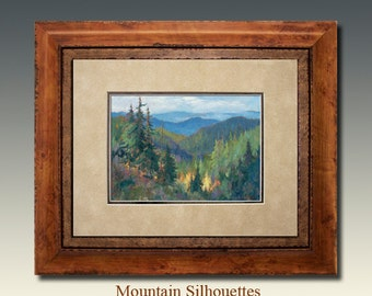 Framed Double Matted Mountain Silhouettes Print Smoky Mountain Art