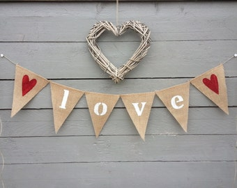 Love burlap banner bunting with red glittered hearts, Valentines banner, Wedding Garland