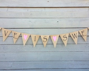 Love is sweet burlap banner, wedding garland, photo prop